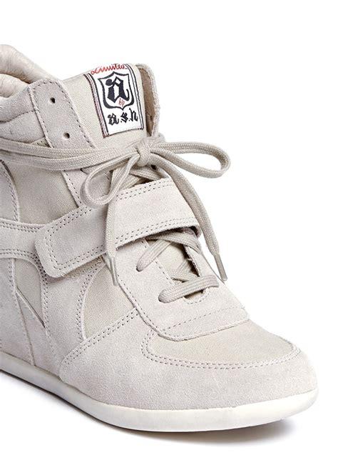 grey sneaker wedges ash bowie suede wedge sneakers in gray lyst