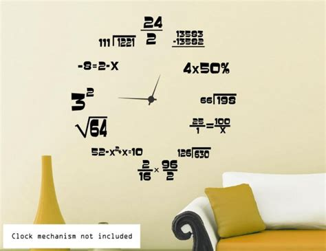 Wall Clock Sticker maths geeks clock background wall stickers wall decals