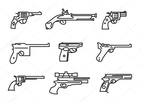 firearm set guns pistols revolvers flat design