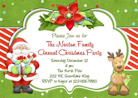 annual christmas party invitation card design with cute