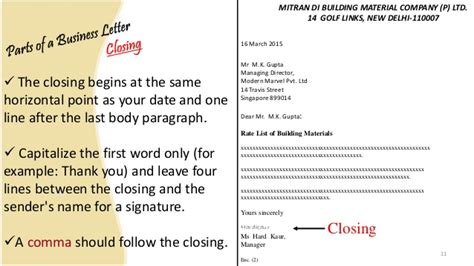 Modern Business Letter Closing Business Letter And Memo Writing Presentation