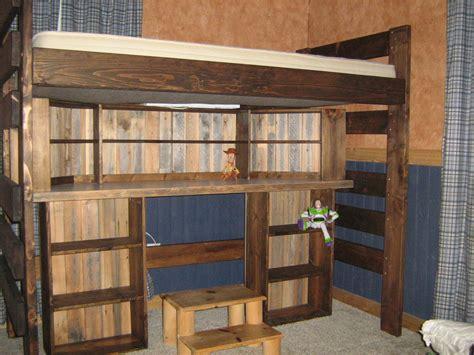 rustic twin loft bed with desk by hatcreek lumberjocks