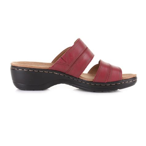 Cayona Leather Flat Pink womens clarks hayla leather low heel comfort mule sandals size