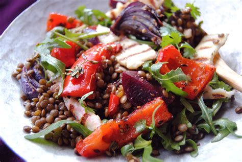Recipes Roasted Root Vegetables - warm beetroot lentil and pepper salad food to glow