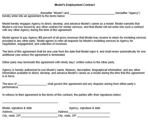 model agreement template model employment contract