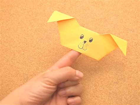 Origami Finger Puppets - how to create an origami puppy finger puppet 15 steps