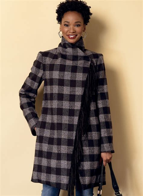 pattern sewing butterick butterick 6384 misses shawl collar coat and vest with