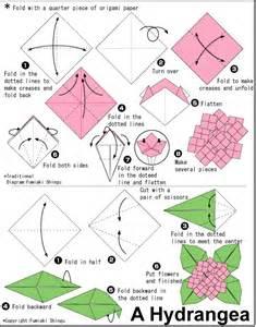 Origami Flower Diagram - origami hydrangea tutorial hydrangea gardens pinterest
