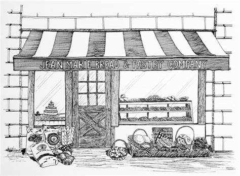 How to draw bakery shop