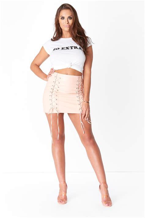 Lace Up Mini Skirt pu lace up mini skirt