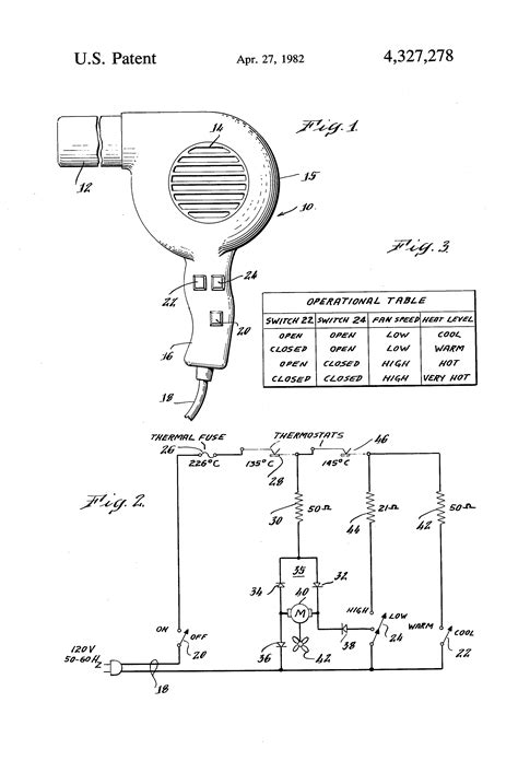 Hair Dryer Circuit Diagram patent us4327278 simplified speed hair dryer