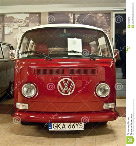 volkswagen old red old vw buses in a museum editorial image cartoondealer