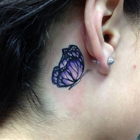 behind the ear tattoos images ear purple butterfly for gils tattooshunt