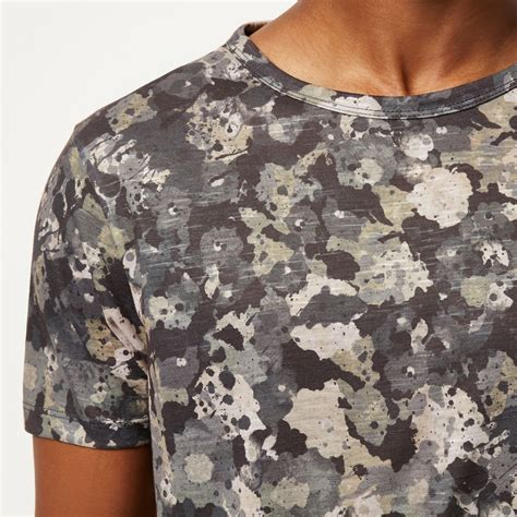 Flower Camouflage Jacket Z418 river island grey camo floral print t shirt in gray for lyst