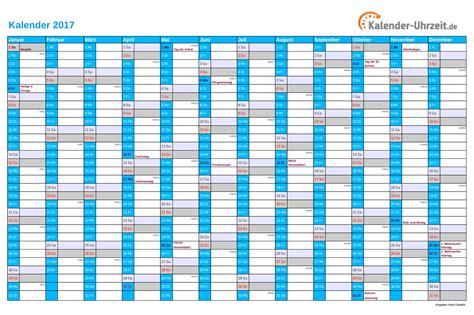 Jahreskalender Mit Kw Kalender 2017 Mit Feiertagen