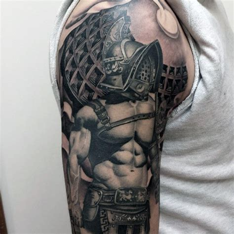 tattoo on gladiators arm incredible painted and colored large shoulder tattoo of