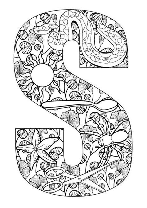 free doodle letters kleurplaat volwassenen letters gratis printen en
