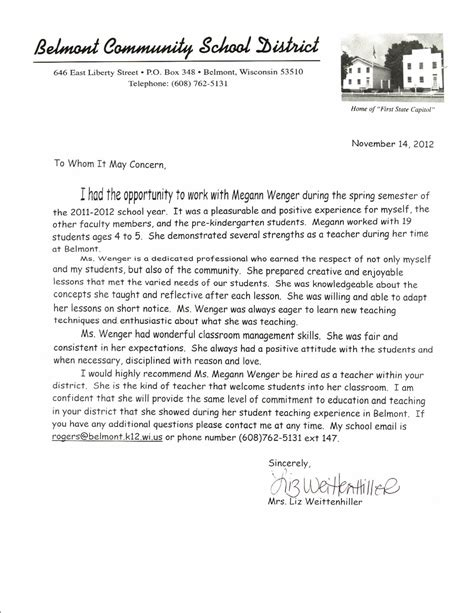 Recommendation Letter For Elementary Letter Of Recommendation For Letter Of Recommendation