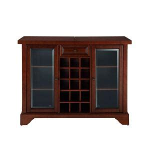 crosley lafayette sliding top bar cabinet in mahogany