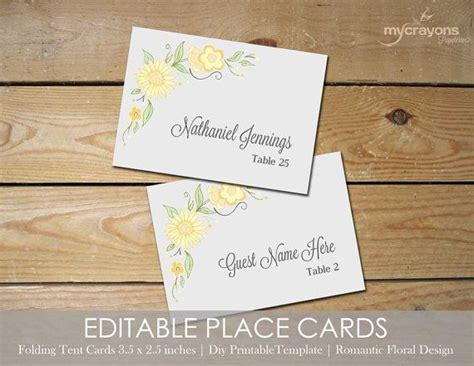Editable Place Card Template by Floral Editable Place Cards Printable Tent Card