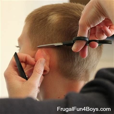 how to cut hair around ears how to do a boy s haircut with clippers frugal fun for