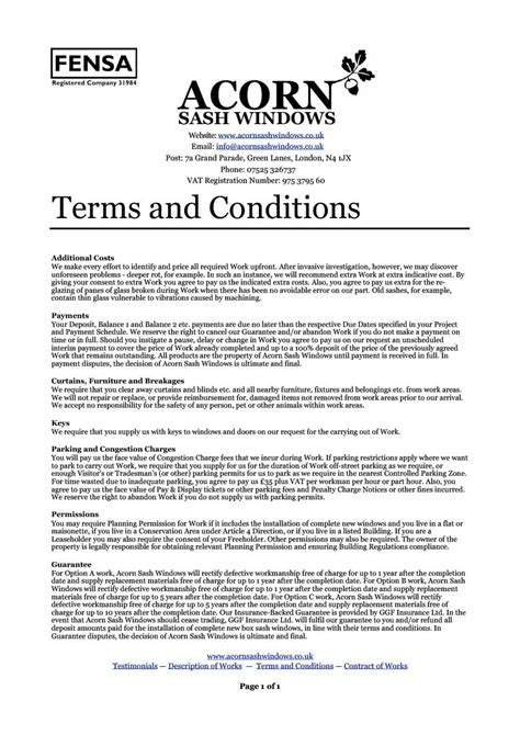 Terms And Conditions Of Sale Template Free