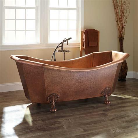 """70"""" Mariel Eight Sided Hammered Copper Clawfoot Tub   Bathroom"""