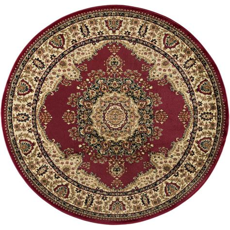 Tayse Rugs Sensation Red 5 Ft 3 In Traditional Round 3 Foot Area Rugs