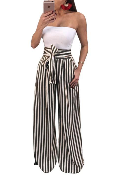 Striped Waist tie waist striped palazzo