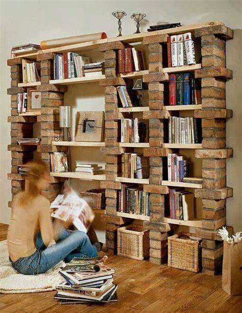 diy brick bookshelf design ideas etc