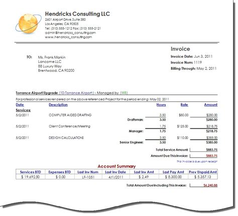 consulting invoice template free best template collection