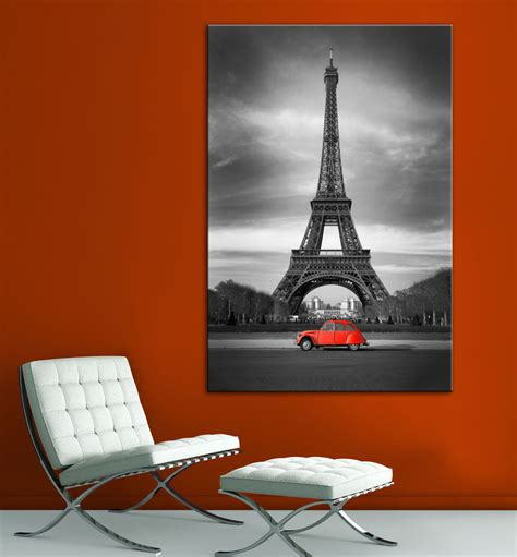 eiffel tower wall decor eiffel tower car black white canvas print home