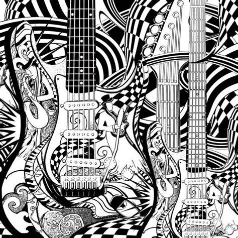 adult coloring page printable guitar coloring by