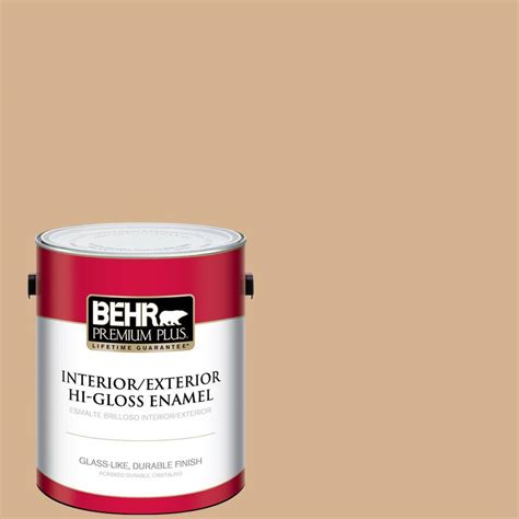 behr premium plus 1 gal home decorators collection creme de caramel hi gloss enamel interior