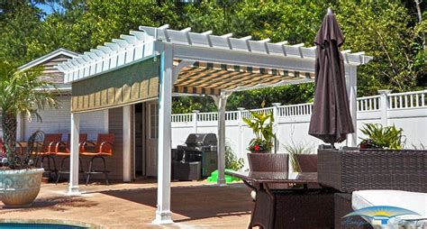 pergola with shade patio pergolas vinyl pergolas horizon structures
