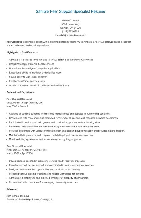 Peer Advisor Cover Letter by Resume Sles Sle Peer Support Specialist Resume