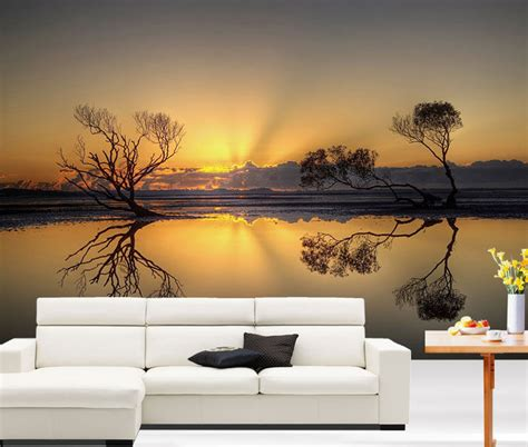 home decor wall murals 3d beautiful sunset lake full wall mural photo wallpaper