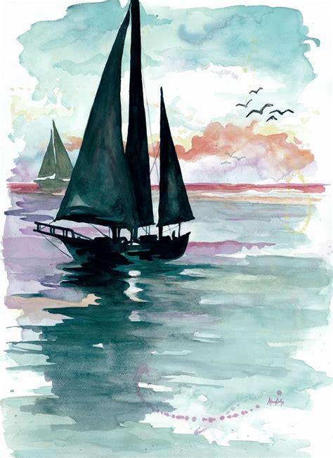 sailing boat watercolour drawn sailing boat simple watercolor pencil and in color