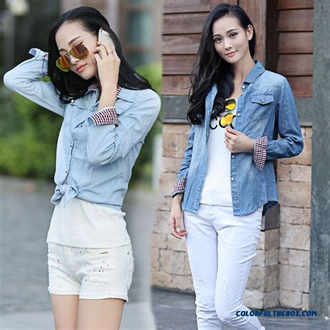 light denim shirt womens cheap clothing european style slim and thin light