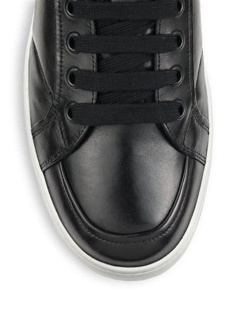 Caterpillar Revo High Black prada leather high top sneakers in black for lyst