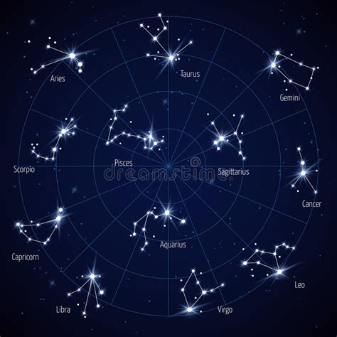 vector sky star map with constellations stars stock vector illustration of design