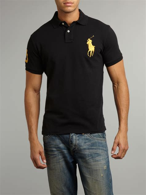 Black Blouse Oversized Kemeja Polos Diskon lyst polo ralph custom fitted gold big pony polo shirt in black for