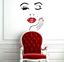 Beauty Wall Stickers Wall Decals Girl Face With Hand Decal Manicure Nail Lips Vinyl