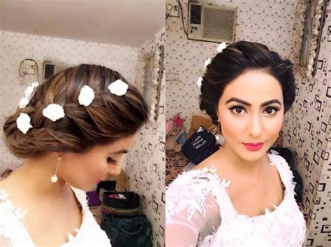 akshara wedding hairstyle akshara aka hina khan looks like a fairy in white wedding