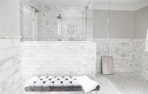 marble subway tile bathroom 30 ideas for using subway tile in a shower