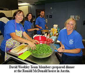 ronald mcdonald house austin david weekley team members sponsor dinner at ronald mcdonald house david weekley homes