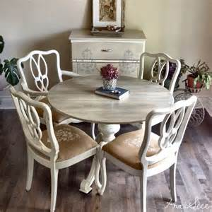 Refurbished Wood Dining Table Uniquely Refurbished Vintage Carved Solid Wood Dining Table And Four Chairs All Chalk Painted