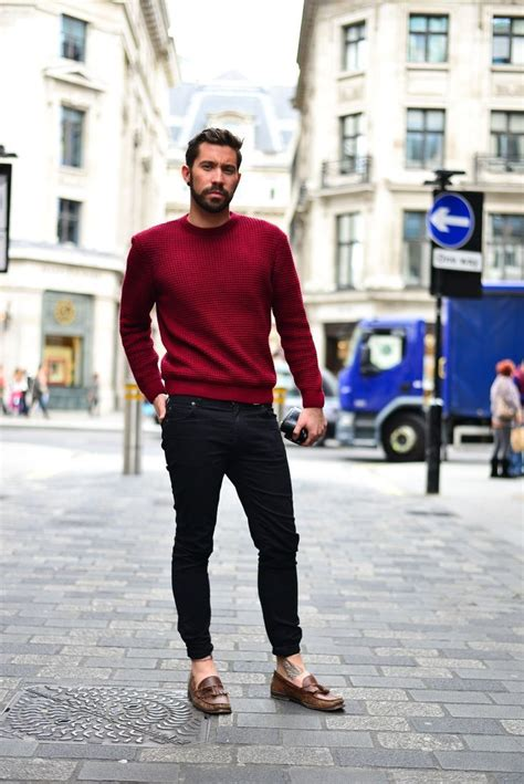 loafers mens style s burgundy crew neck sweater black