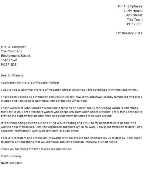 probation officer cover letter exle icover org uk