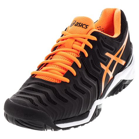 s gel resolution 7 tennis shoes black and shock orange